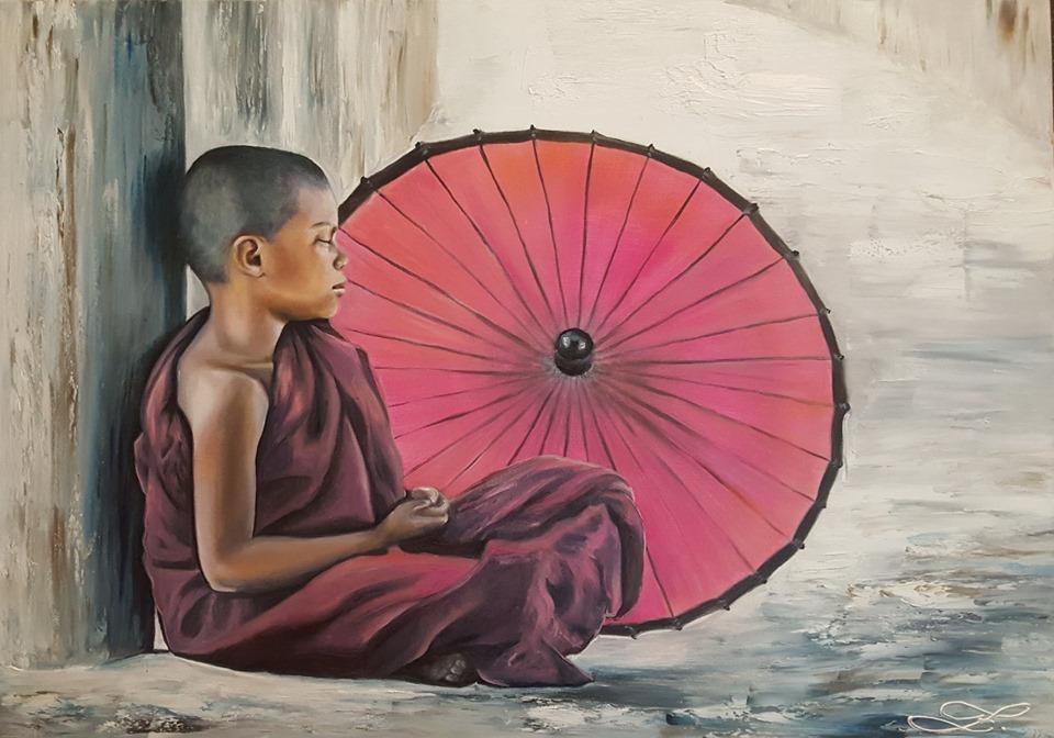 Mnich se slunečníkem  50x70cm