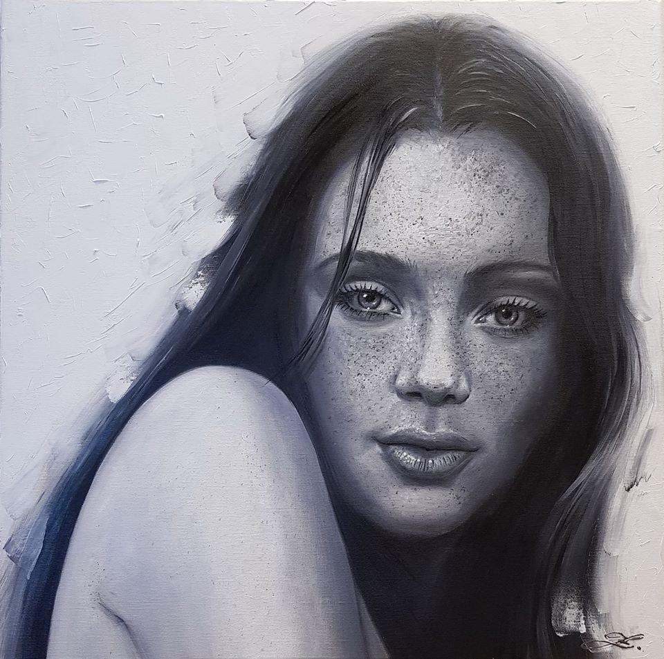 Zadumaná žena  - 50x50cm