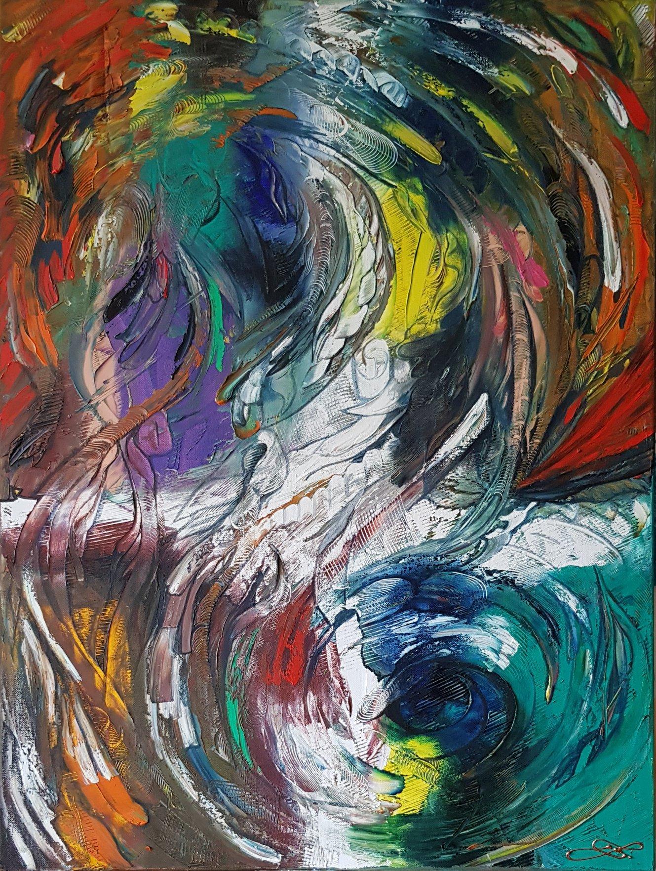 Abstrakce - barvy palety   - 80x60cm